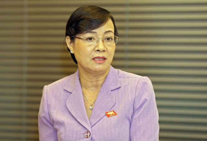 Đại biểu quốc hội Nguyễn ThịQuyết Tâm tại phiên thảo luận tổsáng 29-5- Ảnh: Việt Dũng