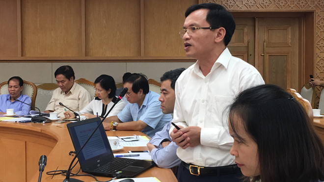 Ông Mai Văn Trinh, Cục trưởng Cục Quản lý chất lượng (Bộ GD-ĐT), trình bày dự kiến phương án thi sau năm 2020 với Hội đồng quốc gia giáo dục và phát triển nhân lực /// Ảnh Quý Hiên